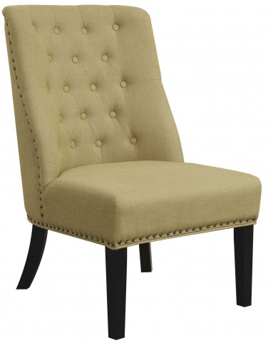Yellow Linen-Like Fabric Accent Chair