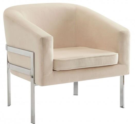 Cream Velvet Accent Chair