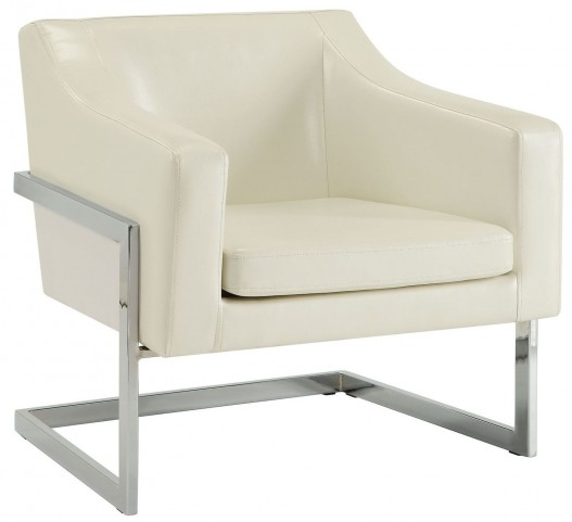 902539 White Leatherette Upholstered Accent Chair