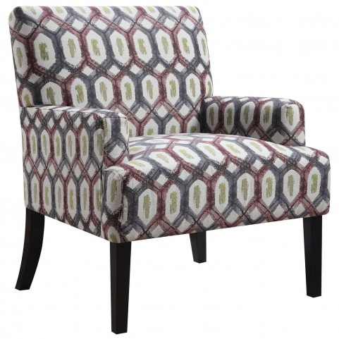 Grey Geometric Pattern Accent Chair
