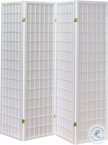 902626 White 4 Panel Folding Screen