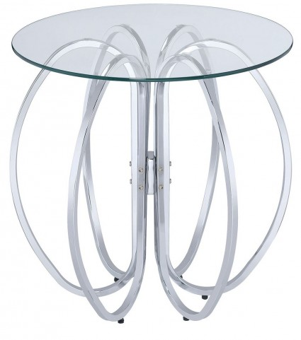 Chrome Glass Interlocking Rings Accent Table
