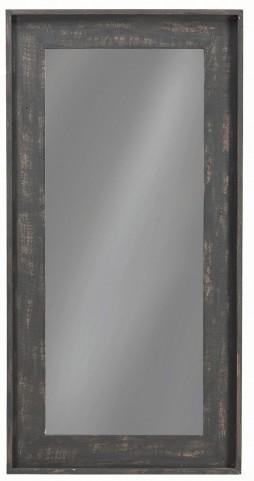 "24"" Distressed Black Floor Mirror"