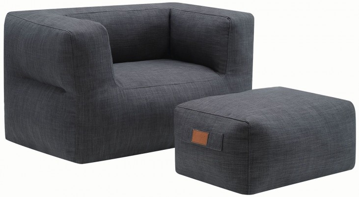 Grey Ottoman and Chair
