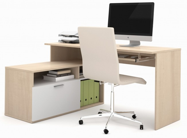Modula Northern Maple & White L-Shaped Workstation