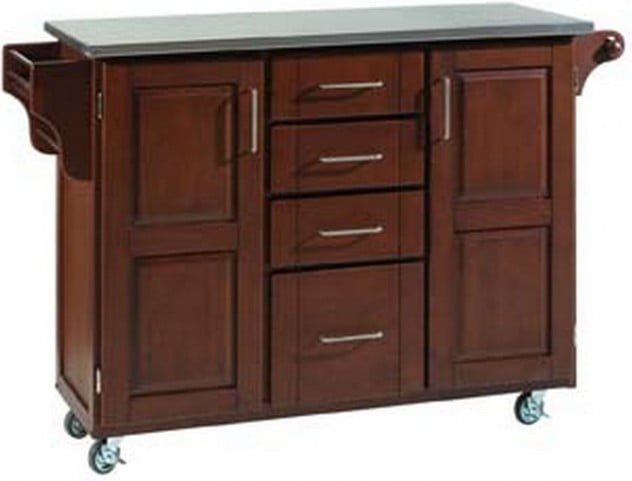 Create A Cart Cherry 2 Door and 4 Drawer Kitchen Cart with Stainless Top