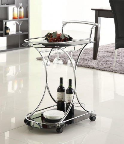 Black Glass Serving Cart 910001