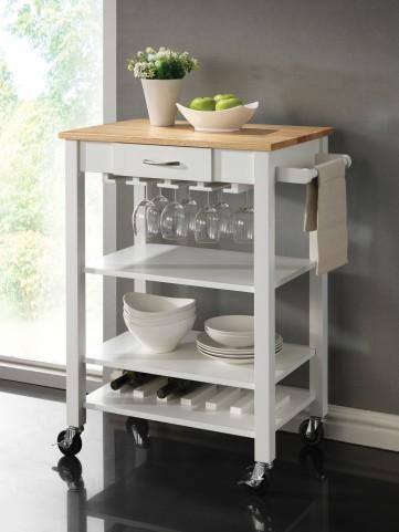 910025 White/Natural Kitchen Cart