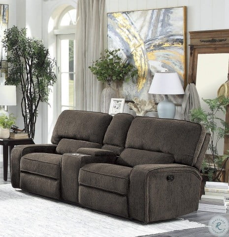 Admirable Borneo Chocolate Power Reclining Loveseat With Center Console Bralicious Painted Fabric Chair Ideas Braliciousco