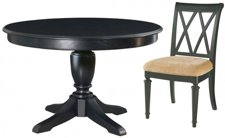 Camden Black Round Extendable Dining Room Set