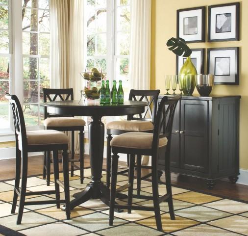 Camden Black Round Counter Height Pedestal Dining Room Set