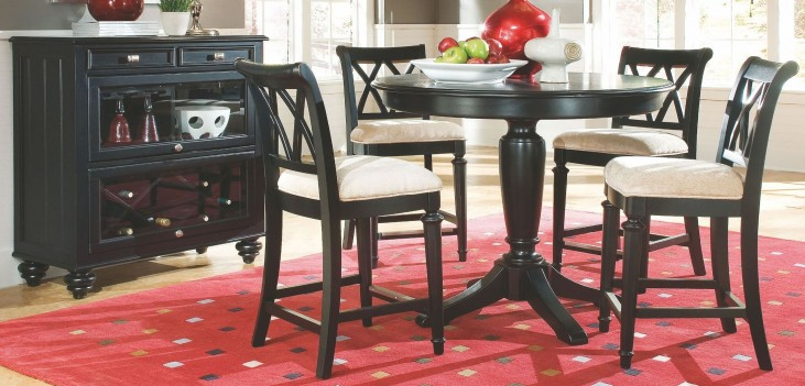 Camden Black Pedestal Bar Set