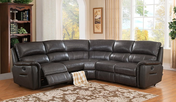 camino charcoal grey reclining sectional without console from amax leather coleman furniture. Black Bedroom Furniture Sets. Home Design Ideas