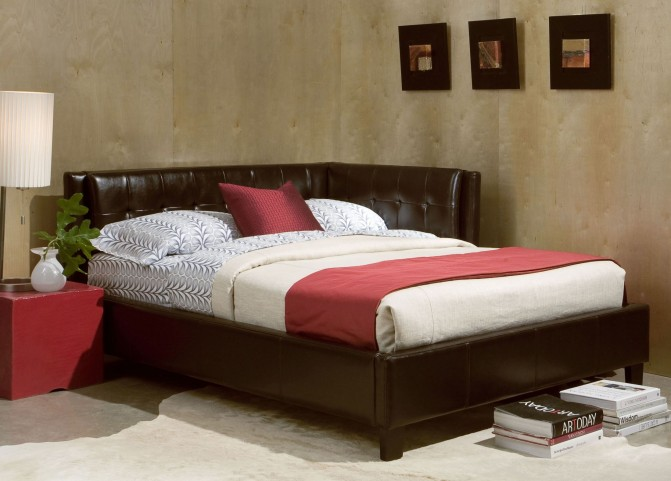 Rochester Brown Twin Upholstered Corner Bed