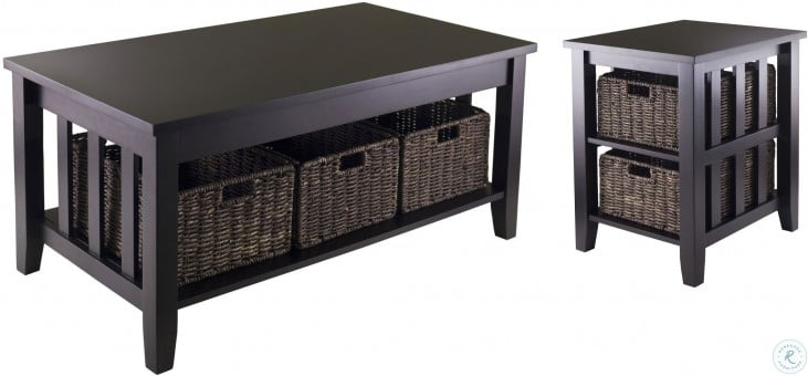 Fantastic Morris Espresso Side Table With 2 Foldable Baskets Caraccident5 Cool Chair Designs And Ideas Caraccident5Info