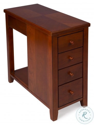Kelton Olive Ash Burl 4 Drawer Chairside Chest