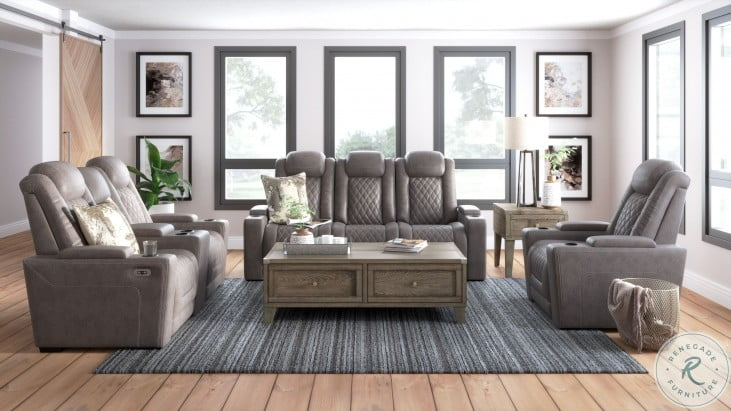 Hyllmont Gray Power Reclining Sofa
