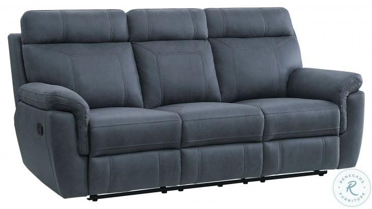 Clifton Blue Double Reclining Sofa With Drop Down Cup Holders