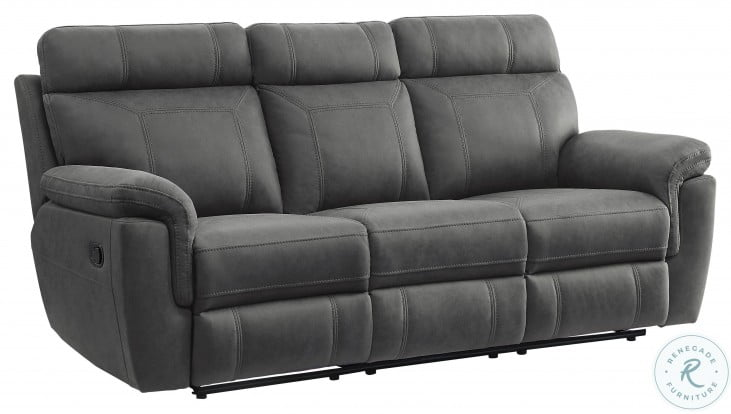 Clifton Gray Double Reclining Sofa With Drop Down Cup Holders