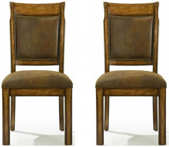 Larkspur Burnished Caramel Upholstered Back Side Chair Set of 2