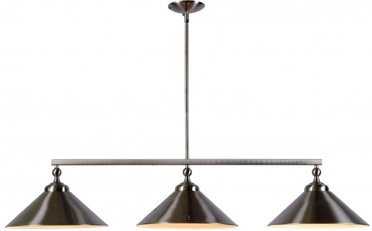 Conical Brushed Steel 3 Light Island Light