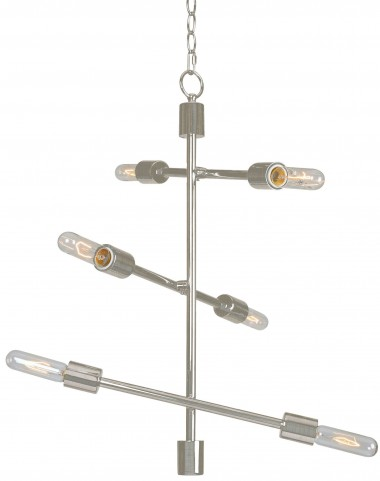 Swiv >Brushed Steel 6 Light Chandelier
