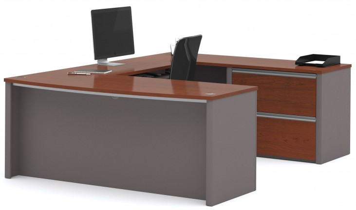 Connexion Bordeaux & Slate U-Shaped Workstation with Oversized Pedestal