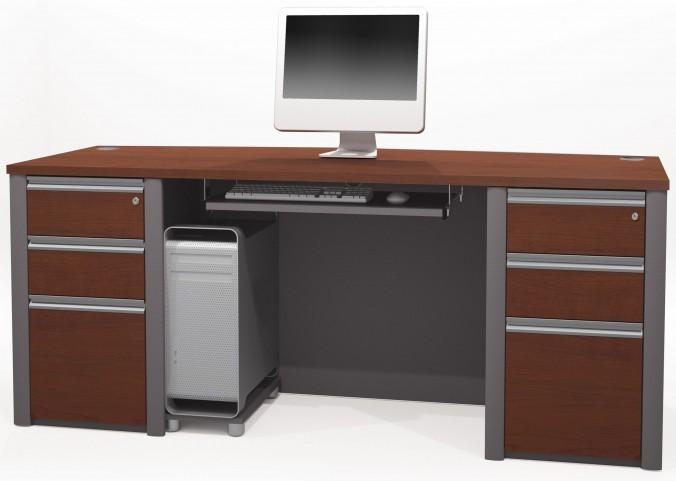 Connexion Bordeaux & Slate Executive Desk With Two Pedestals