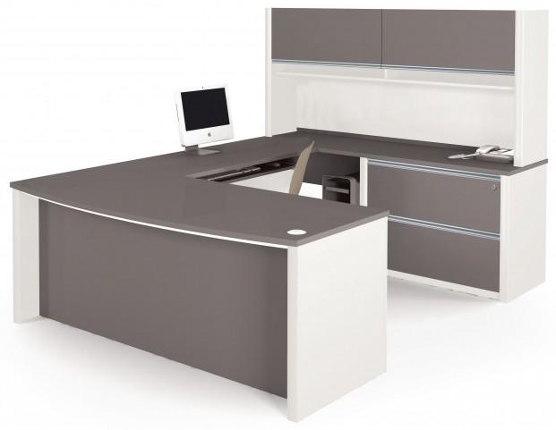 Connexion Slate & Sandstone U-Shaped Workstation Set with Hutch and Oversized Pedestal