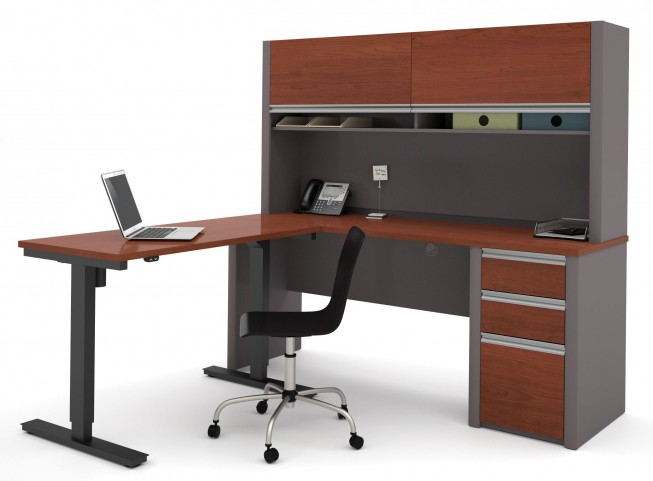 Connexion Bordeaux & Slate L-Desk With Hutch