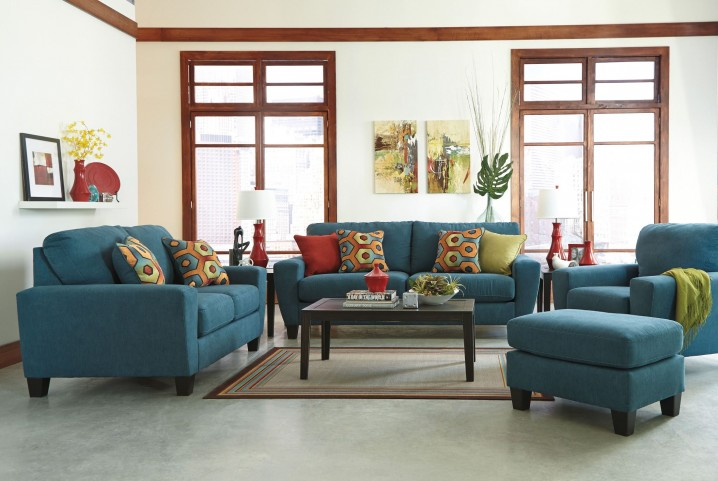 Sagen Teal Living Room Set