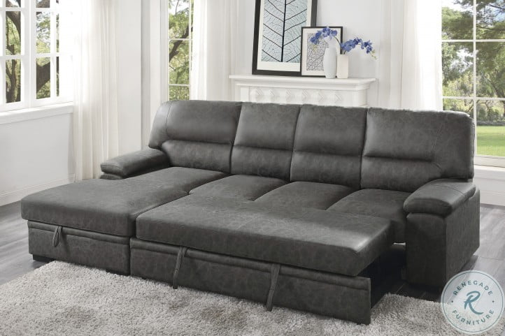 Michigan Dark Gray LAF 2 Piece Sectional with Pull Out Bed