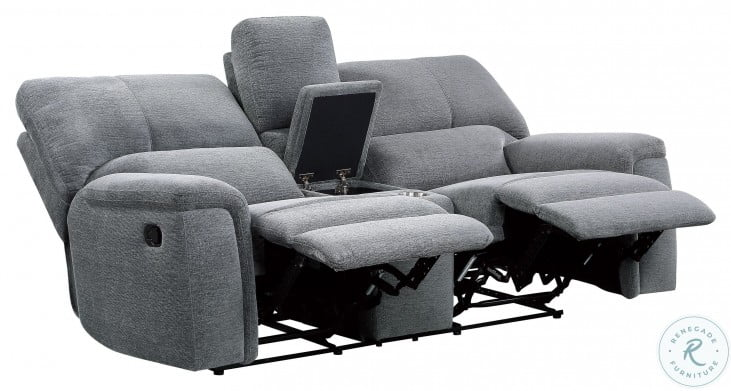 Dickinson Charcoal Double Reclining Console Loveseat