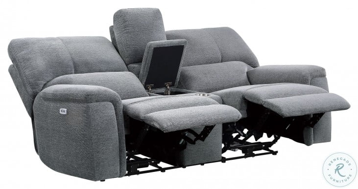 Dickinson Charcoal Power Double Reclining Console Loveseat With Power Headrests