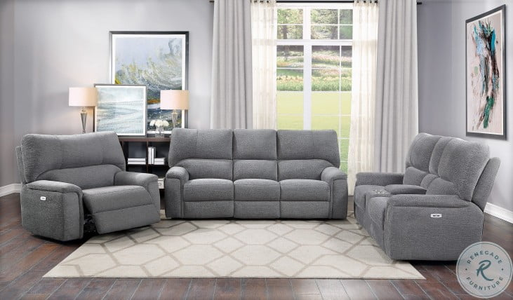 Dickinson Charcoal Power Double Reclining Living Room Set With Power Headrests