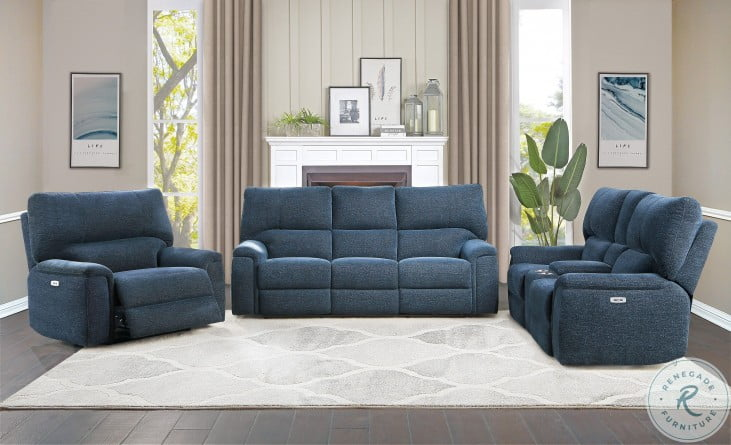 Dickinson Indigo Power Double Reclining Living Room Set With Power Headrests