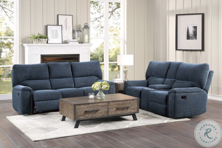 Dickinson Indigo Double Reclining Sofa