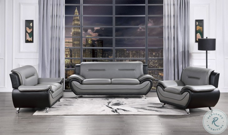 Matteo Gray and Black Living Room Set