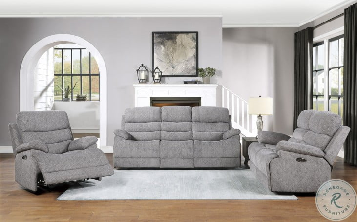 Sherbrook Gray Power Double Reclining Living Room Set With Power Headrests