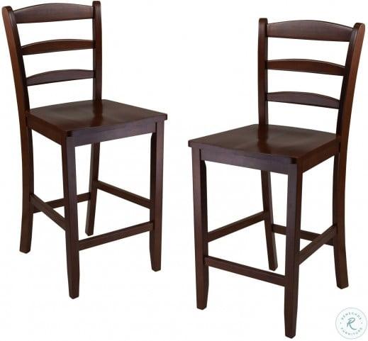 Terrific Benjamin Antique Walnut Ladder Back Counter Stool Set Of 2 Alphanode Cool Chair Designs And Ideas Alphanodeonline