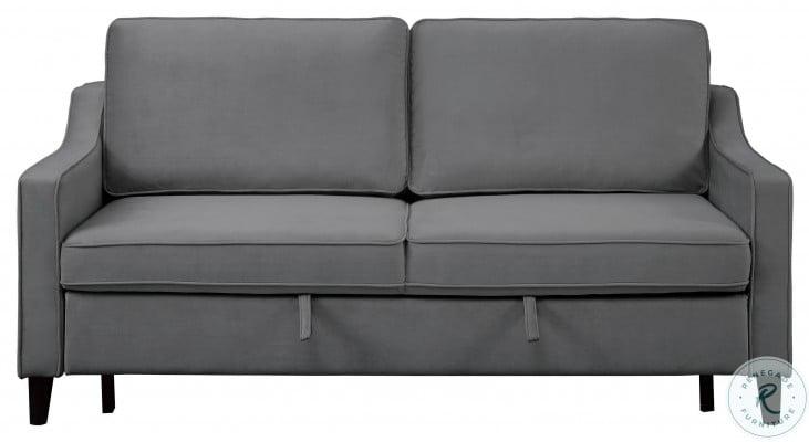 Adelia Dark Gray Convertible Studio Sofa With Pull Out Bed