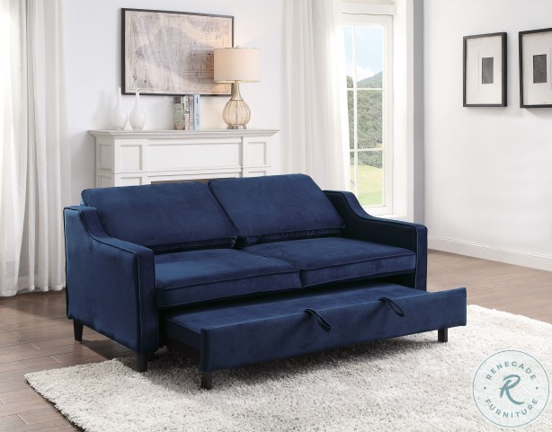 Adelia Navy Convertible Studio Sleeper With Pull Out Bed