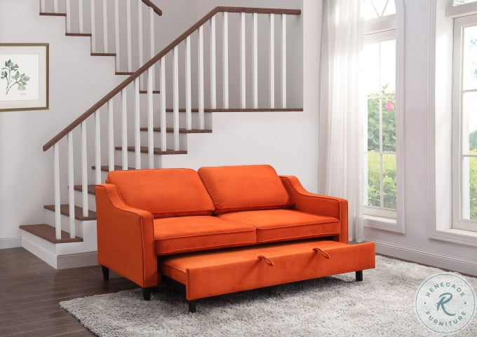 Adelia Orange Convertible Studio Sleeper With Pull Out Bed