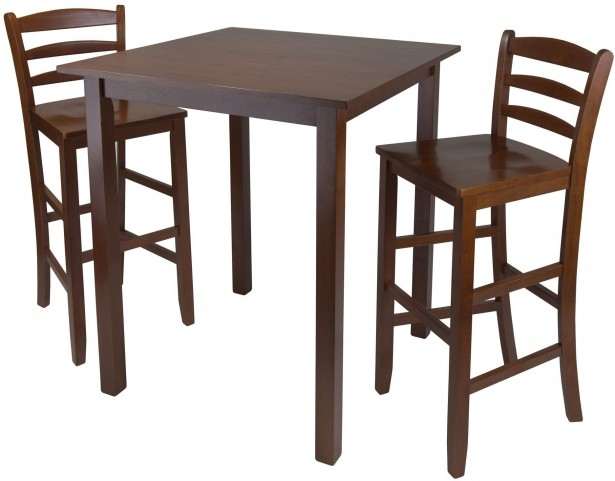Parkland Walnut 3 Piece Counter Height Dining Set With Ladder Back