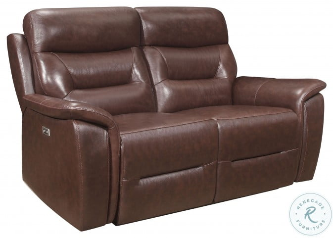 Armando Brown Leather Double Power Reclining Loveseat With Power Headrest