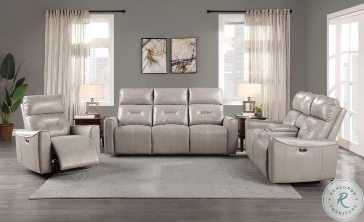 Burwell Light Gray Double Power Reclining Living Room Set