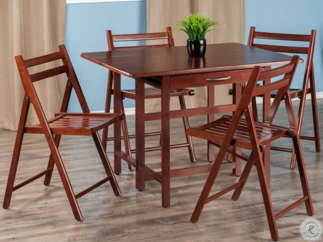 Silver Dining Table And Chairs, Taylor 5 Piece Drop Leaf Extendable Dining Set From Winsomewood Coleman Furniture