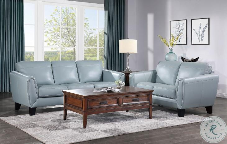 Spivey Aqua Leather Living Room Set