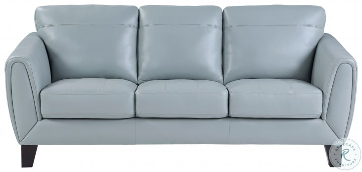 Spivey Aqua Leather Sofa