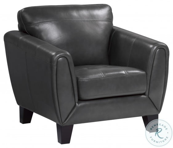 Spivey Dark Gray Leather Chair